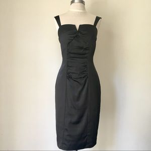 NEW Black Ruched Satin Cocktail Dress